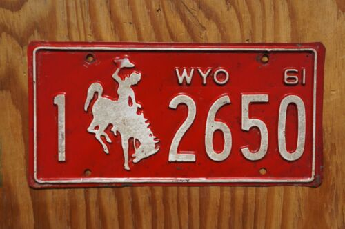 1961 Red Wyoming Cowboy & Horse License Plate