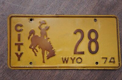 1974 Wyoming CITY License Plate 2 Digit Low # 28