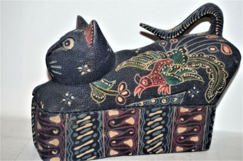 Wood Carving ornate painted hand carved cat figurine on a stand - jewelry box