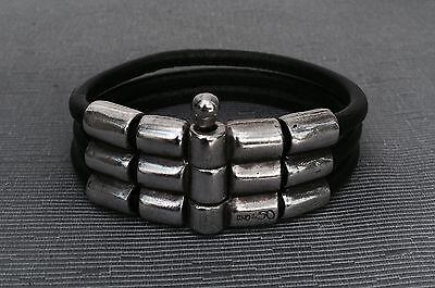 Triple Strand Leather - UNO DE 50 Black Leather Triple Strand Silver Bracelet RARE!!