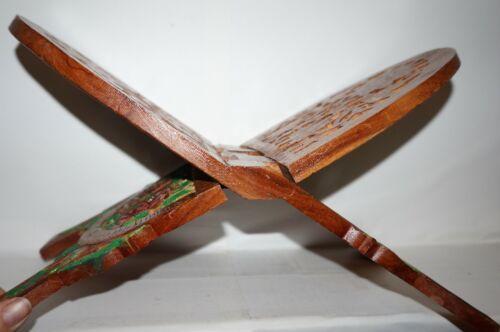 Vintage Wood Book Folding Stand Rack Hand Carved India Floral Bible Holder