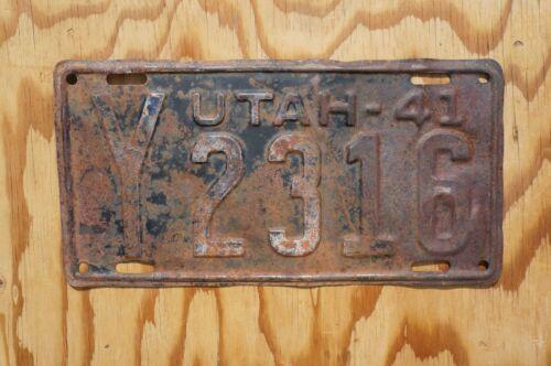 1941 Utah Passenger License Plate # Y2316