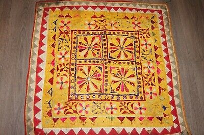 Vintage ochre yellow red embroidered mirrored ethnic fabric decorative panel