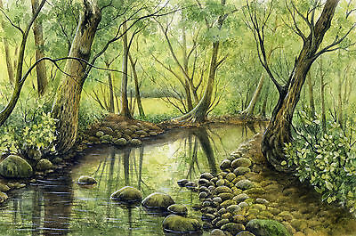 "Watercolor Original 8,3/4""x 5,3/4"" Painting a Day Landscape by Elena Mezhibovsky"