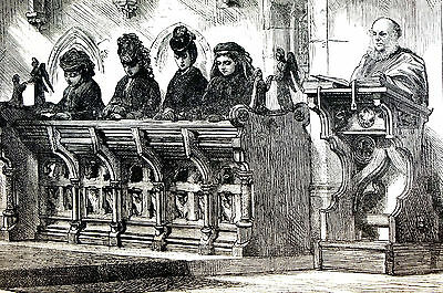 (Great Britain SANDRINGHAM CHURCH  - ROYAL PEW 1872 Engraving Art Print Matted)