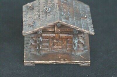 VINTAGE SWISS CHALET WOODEN INKWELL  POSSIBLE BLACK FOREST