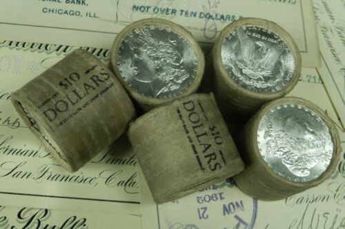 1x $10 BU Morgan Roll UNC Silver Dollar Shorty Random Morgan Dollars Ends Pre 21