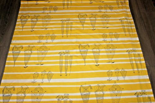 """Lucienne Day original yellow """"Trio"""" cotton fabric large length fabric"""