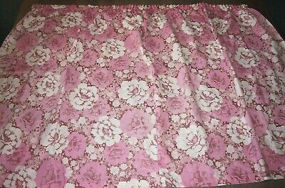 fabric large length 60s 70s vintage flower power pink white maroone textile