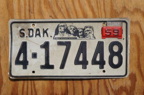 1957 South Dakota MT Rushmore License Plate With 1959 TAB