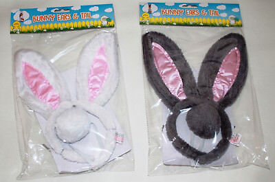 EASTER Bunny Ears & Tail Kids Adults Rabbit Fancy Costume Alice Band Headband  - Alice Bunny Costume