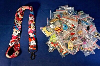 Disney World Trading Pins Pin Lot 25 with Minnie Mouse Black Lanyard Starter - Minnie Mouse Lanyard