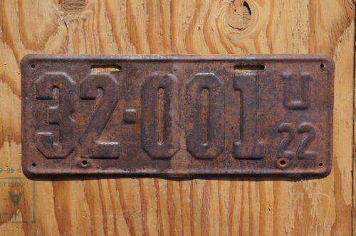 1922 Utah License Plate # 32 - 001