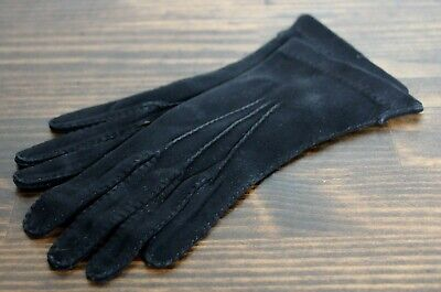 - Vintage Kid Leather Suede Gloves Black Small 6 1/4 Driving Soft EUC France