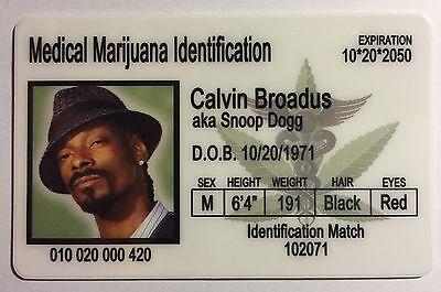Snoop Dogg - Calvin Broadus - Medical Marijuana Identification License Novelty