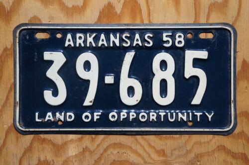 1958 Arkansas License Plate # 39 - 685