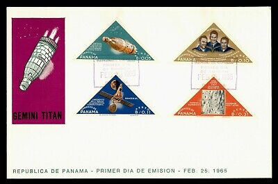 DR WHO 1965 PANAMA FDC GEMINI SPACE CACHET TRIANGLE COMBO IMPERF  g21850