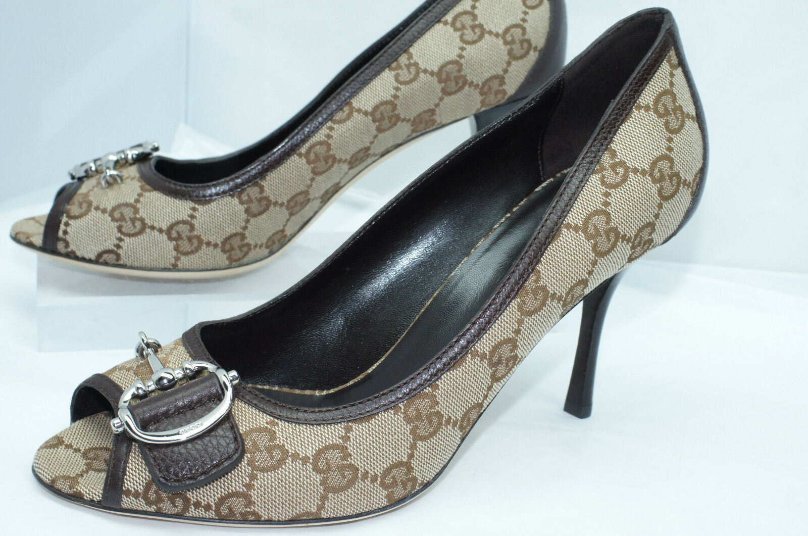 New Gucci Women's Shoes Pumps GG Logo Size G 39.5 Original Heels Classics 1