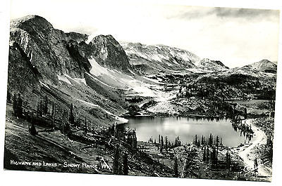 WY Wyoming Highway and Lakes Snowy Range Unposted Real Photo Sanborn