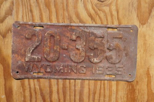 1935 Wyoming License Plate # 20 - 355