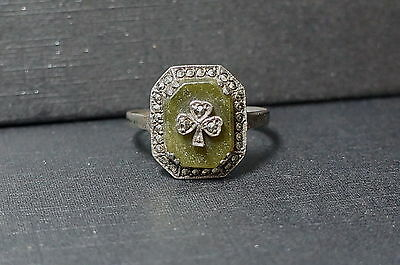 ANTIQUE IRISH STERLING CONNEMARA MARBLE MARCASITE LUCKY CLOVER RING sz 10