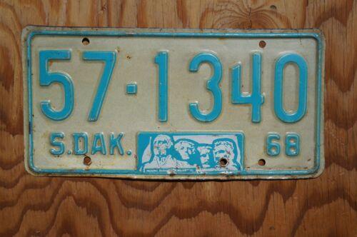 1968 South Dakota MT Rushmore License Plate