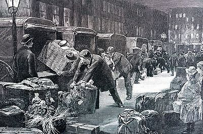 Christmas Retail Stores 1890 GIFT DELIVERY TOYS DOLLS Antique Matted Engraving ()