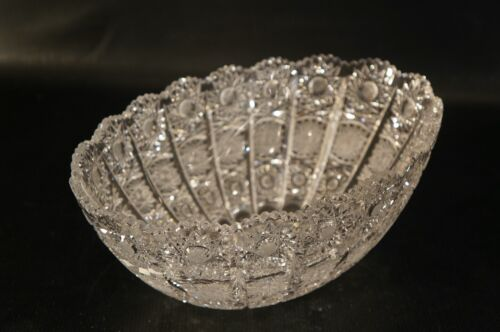 Bohemian Crystal oval vase Bowl Cut To Clear.