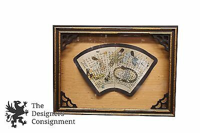 """22"""" Vintage Asian Shadowbox with Chinese Calligraphy Vanity Fan Scroll Framed"""