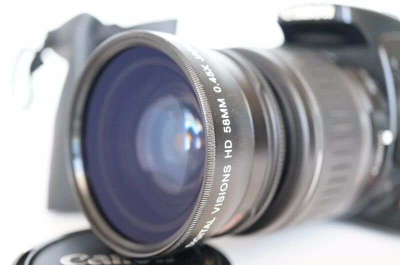 Macro Wide Angle Lens for Canon Eos Digital Rebel & T3i sl1 XTi w/18-55 IS II 58