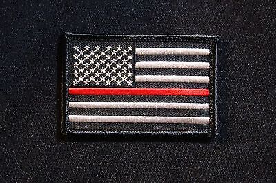 Firefighter Thin Red Line United States Flag Patch Fire & Rescue EMT EMS Hook