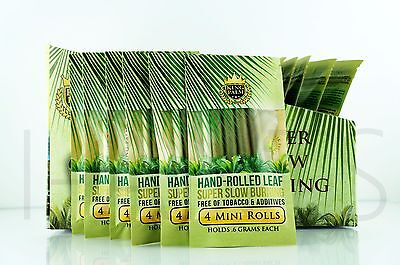 24X King Palm Mini Size 100  Tobacco Fee Natural Leaf Rols With Corn Husk Filter