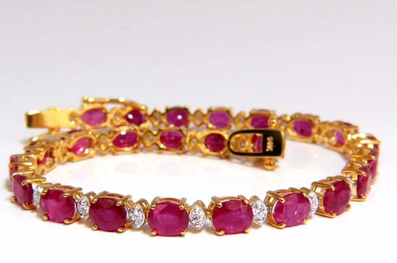 12.30ct Bright Red Natural Ruby Diamonds Alternating Tennis Bracelet 14kt