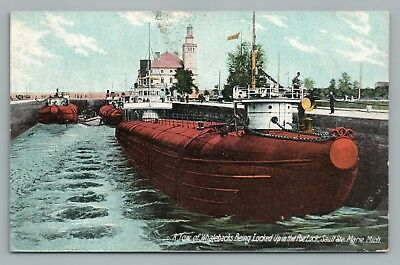 Whaleback Boats in Poe Lock SAULT SAINTE MARIE Michigan Ships 1908