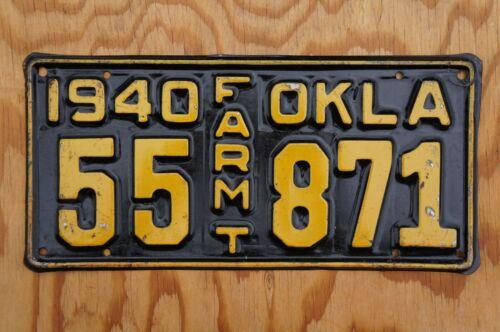 1940 Oklahoma Farm Truck License Plate - High Quality Original