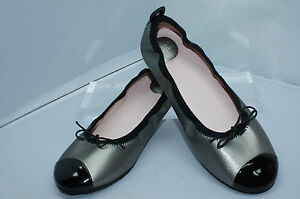 Stuart-Weitzman-Girls-Bunny-Ballerina-Size-3-UK-2-5-Pewter-Flats-Shoes-NIB