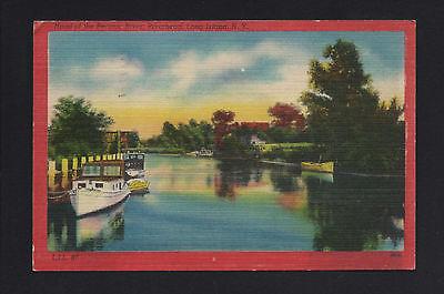 Long Island New York NY 1940s Peconic River,  Riverhead, Boats, Docks, Cabins