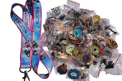 Disney World Pin Trading Lot Lanyard Starter Set Frozen Pink Blue w/ 10 Pins