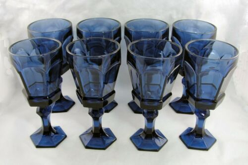 "Fostoria 8 Dark Blue Virginia Claret Wine Goblet Glass 6.5"" NEW OLD STOCK 2977"