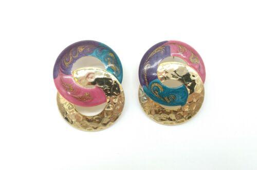 Vintage Hammered Gold Tone Metal Pink Blue Purple Enamel Pierced Earrings