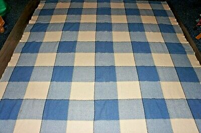 Vintage Welsh wool handmade blue beige square check blanket 82