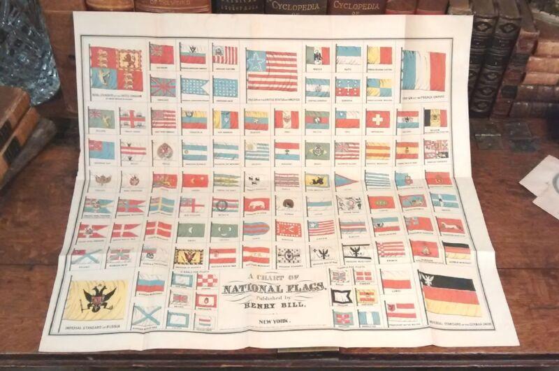 Rare Original 1858 Fine Antique NATIONAL FLAGS Print United States America US