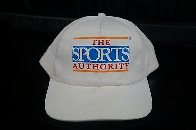 Rare Vintage TRIANGLE HEADWEAR The Sports Authority Snapback Hat Cap 90s White  (90s Headwear)