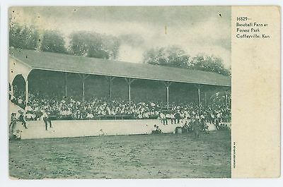 Baseball Fans At Forest Park Stadium Coffeyville Ks Vintage Kansas Postcard