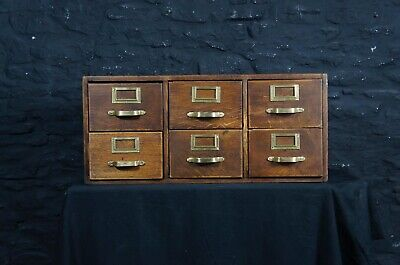 Antique Bank of Six Index Drawers / Cabinet in Oak ~ King George Brass Handles