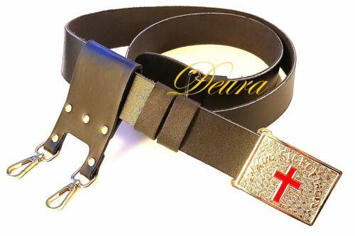 "KNIGHTS TEMPLAR Cow HIDE LEATHER BLACK Sword Belt Sir Knight Waist Size 36 - 48"""