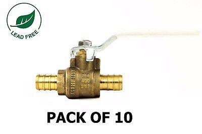 12 Pex Brass Shut Off Ball Valve Full Port Psi Non-shock Wog Lead Free 10 Pack