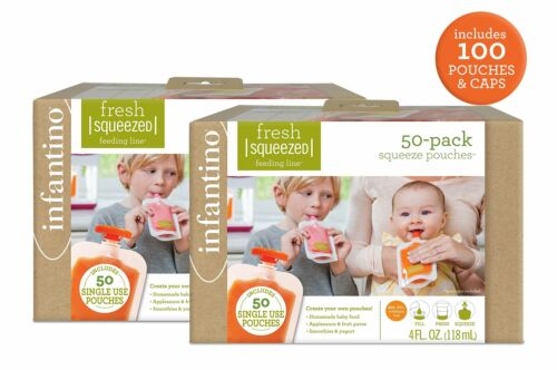 Infantino Squeeze Pouches, 100 Count - Free Shipping
