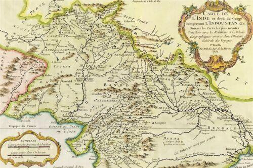 Map of Pakistan and northern India c1752 Nicolas Bellin original copper plate