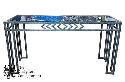 Contemporary Faux Painted Granite Beveled Glass Top Entryway Console Sofa Table